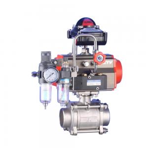 Pneumatic three piece screw ball valve Q611F