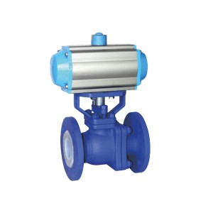 Q41f46 flange type fluorine lined ball valve