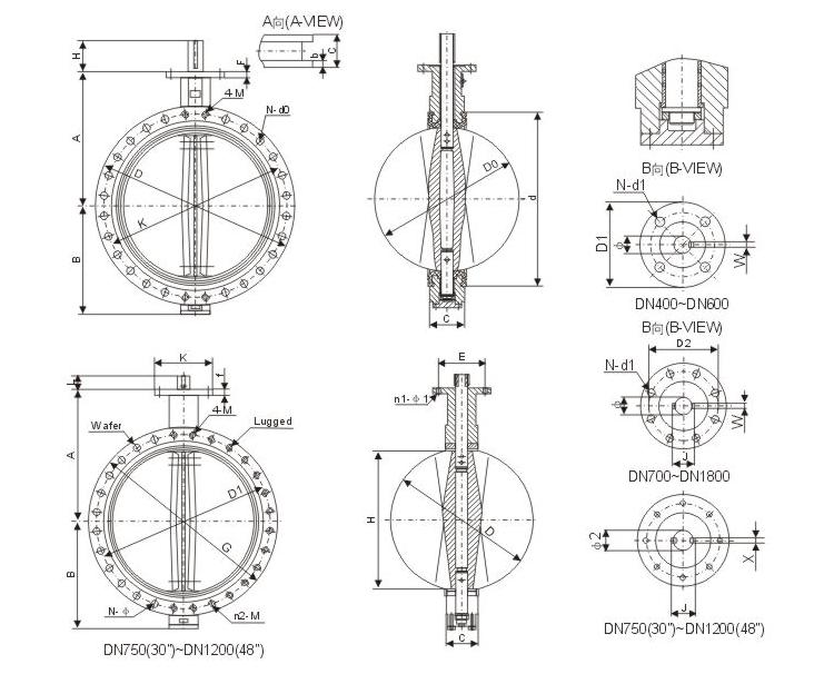U type flange butterfly valve
